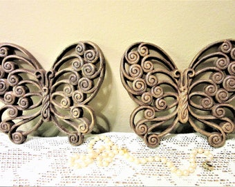 Sale Butterfly Wall Hanging Burwood Products Bamboo Wicker Design Set of two Vintage blm