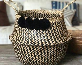 seagrass belly basket with poms, black basket, woven basket