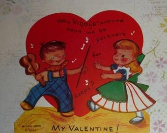 ON SALE till 7/28 Why FIDDLE Around  Can't We Be Partners Vintage Valentine A-Meri-Card.