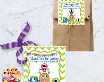 printable  thank you monster birthday tag/little monster