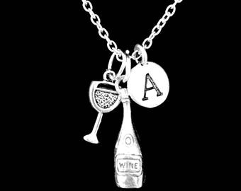 Gift For Her, Wine Glass Wine Bottle Necklace, Initial Necklace, Best Friend Gift, Bridesmaid Gift, Christmas Gift, Charm Necklace