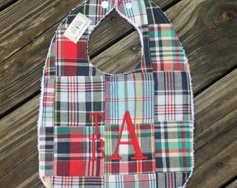Infant/Toddler Bib with Monogram- Patchwork Madras Plaid- Monogrammed bib, bib and burp cloth