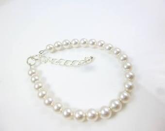 Pearl Baby Bracelet, Kids Bracelet, Swarovski Elements, White Pearl Bracelet