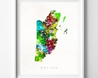 Belize Map Print, Belmopan Print, Belize Poster, Watercolor Painting, Map Art, Wall Decor, Traveler, Home Decor, Mothers Day Gift