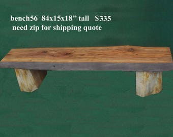 Bench56  wood bench, live edge patio bench. curly redwood