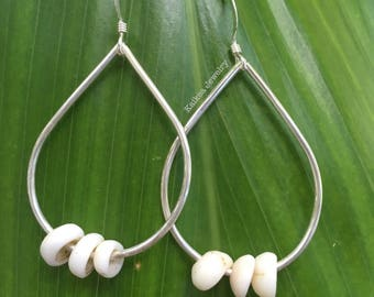 Tiny Puka Shell Teardrop Earrings Sterling Silver