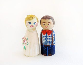 edding cake topper / Peg doll wedding rural / Couple Cake topper wedding rustic / country Topics married - to personalize A