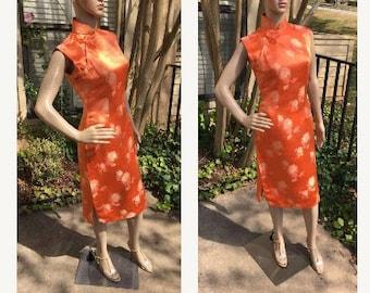 50s Cheongsam Dress Vintage British Hong Kong Orange Pink Gold Silk Wiggle Party Antique Qipao Asian Souvenir 8 10 M