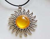 Summer Sun Pendant Necklace with Yellow Glass Cabochon on Black Cord