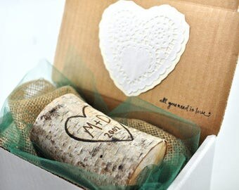Birch Candle / Anniversary Gift / Birch Candle / Wood Burned Initials / for Him / Husband / Fiance / Personalized Gift /  Valentine Gift Box
