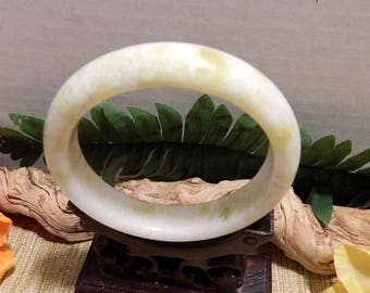 61mm Lt Green Jade Bangle Bracelet Jewelry Crafts Supplies DIY Crafts Supplies Green White Jade