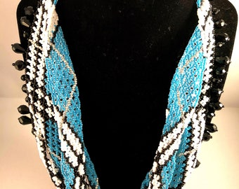 Turquoise beaded Scarf Necklace