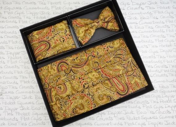 Gold Paisley Cummerbund, Bow Tie and Pocket Square Set