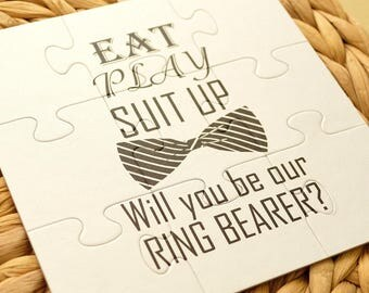 SALE Wedding proposal Will you be our Ring bearer puzzle Gift Ask Ring bearer