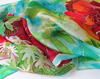 Batik silk scarf Poppies scarf Summer flowers scarf Hand painted silk scarf Floral Handpainted scarves Woman accessory Gift for her