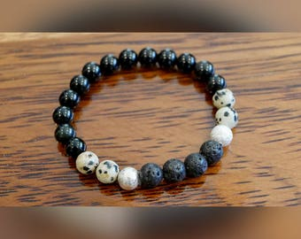 Genuine Dalmatian Jasper and Black Agate Gemstone Bracelet with Lava Beads