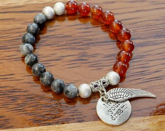 Genuine Labradorite and Red Agate Charm Bracelet with Angel wing and Live Your Dream Charm