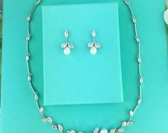 SALE Ends Monday Bridal Pearl Jewelry Set, wedding jewelry bracelet set, cz freshwater pearl bracelet, cubic zirconia pearl bracelet, neckla