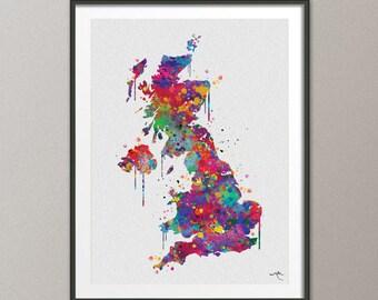 Vereinigtes Knigreich Karte Das Vereinigte Aquarell Abstrakte UK Map