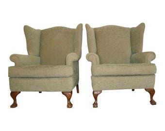 Antique Chippendale Wingback Chairs