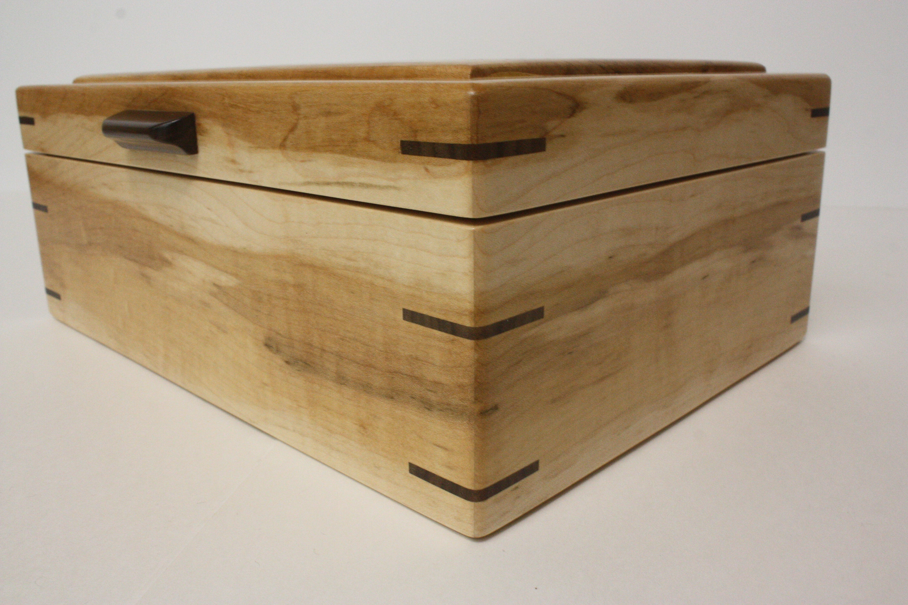Brown Maple Wood Box with Black Walnut