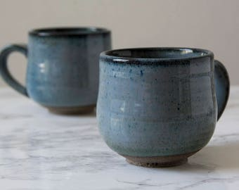 Blue Cappuccino Cup, Ceramic Coffee Cup, 5 oz Cup, Gift for Me, Blue Mug, Small Mug, Cappuccino Ceramic Cup, Rustic Pottery, Gift for Him