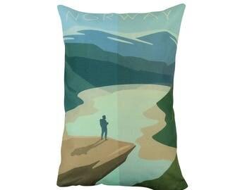 Norway | Adventure Time | Pillow Cover | Wanderlust | Throw Pillow | Travel Pillow | Home Decor | 12 x 18 Pillow | Adventure Awaits