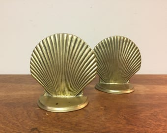 Two Brass Clam Shell Bookends with Beautiful Patina