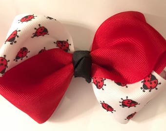 Hair Bow - Ladybugs w/ Red
