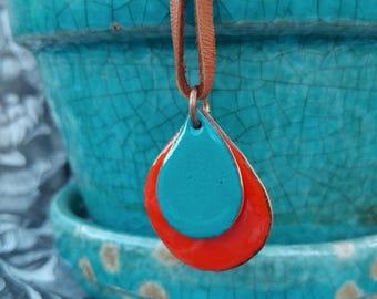 Colorful Enameled Pendant Necklace