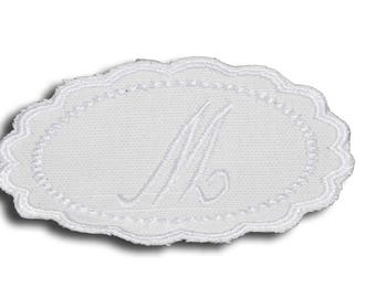 "Embroidery patch ""Letter M"" Monogram white"