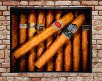 Cigar Art, Cigar Print,  Bar Art, Cigar Poster, Bar Decor, Cigar Art, Man Cave Fathers Day Gifts Wall Art #vi819