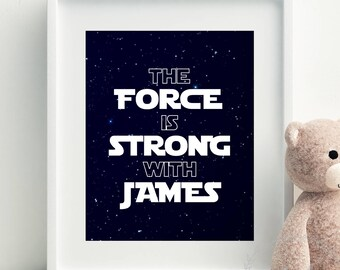 Star Wars Print Personalised with Name / Star Wars Wall Art / Star Wars Nursery Decor / Boys Space Bedroom Print Custom Printable Wall Decor