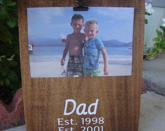 Father's Day gift for Husband, stained photo block with Dad, Daddy established date, Fathers Day gift, Personalized Picture Frame Gift