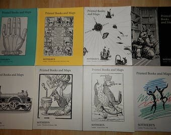 Lot of Eight Sotheby's Catalogues Printed Books And Maps 90's