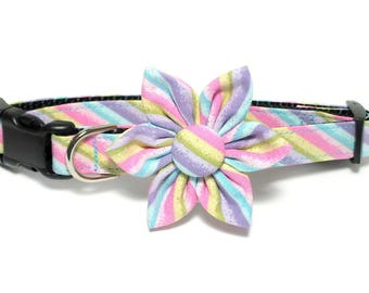 Easter Glitter Stripes Dog Collar Set, flower for dog collar, wedding flower, pet collar flower, collar flower