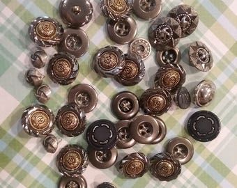 Vintage Metal Buttons, Silver/Gold Buttons, Sewing Buttons, Craft Buttons, Hole&Shank Buttons, Gray Buttons, Jewelry Making, Silver Buttons