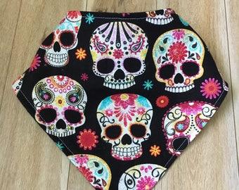 Skull baby bib, modern baby bib, bibdana, bandana bib