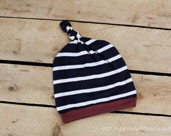 Knot Top Newborn Hat, Newborn Stripe Hat, Baby Boy Hat, Take Home Outfit, Newborn Boy Hat, New Baby Hat, Modern Newborn, Stripe Knot Top Hat
