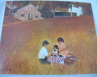 "1960's Litho Print Children Picnic Dog STONE COTTAGE Signed George Sottung 20""x16 Vintage Mid Century"