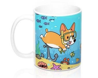 Diving Corgi Coffee Mug, Dog Coffee Mugs, Funny Coffee Mug, Diving Gifts, Dog lover Gift