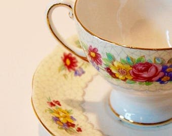 Royal Standard...Brussels Lace Footed Cup & Saucer...English Bone China