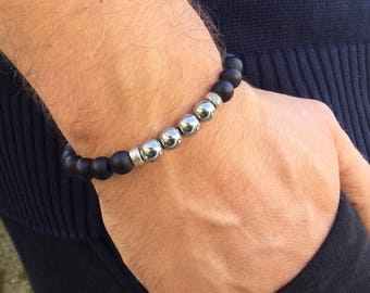 Men's onyx hematite yoga mala meditation energy beaded bracelet -Stackable bracelet - Spiritual balance