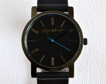 Black Minimalist Leather Watch with Blue Second Hand | Anniversary gift | Gift for him | Gift for her | Mens watch | Womens watch