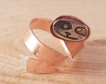 Hand Made Sterling Silver and Copper Etched Adjustable Sloth Ring, Sloth Ring, Sloth Jewellery, Animal Jewellery, Mixed Metal Jewellery