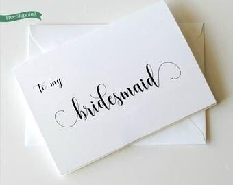 Bridesmaid Thank You Card, Bride tribe, To my Bridesmaid, Bridesmaid Card,  Choose your own ink colors _ Simplicity Collection_HON31