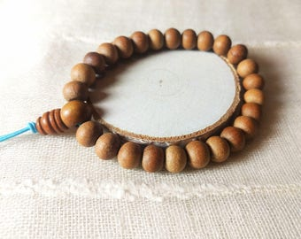 Sandalwood mala beads stretchable bracelet, gift for men, gift for women