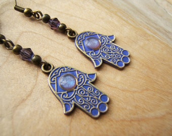 Unique Hamsa hand/Fatima earrings. Protection from the Evil Eye Hand finished Lilac / Purple,antique bronze