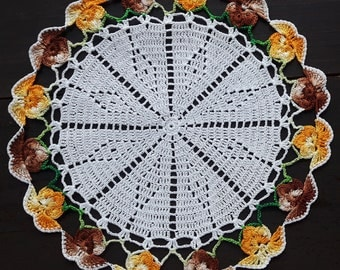 Vintage handmade crochet doily with pansy