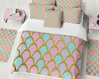 Mermaid Scales  Bedding ,  Duvet Cover or  Comforter,  Twin  Full, Queen, King, Rug, Throw Pilllow Options
